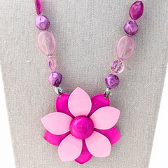 Purple and Pink Flower Necklace (VF 118)