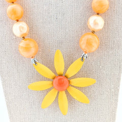Orangesicle Vintage Flower Necklace