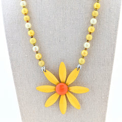 Yellow and Orange Vintage Flower Necklace