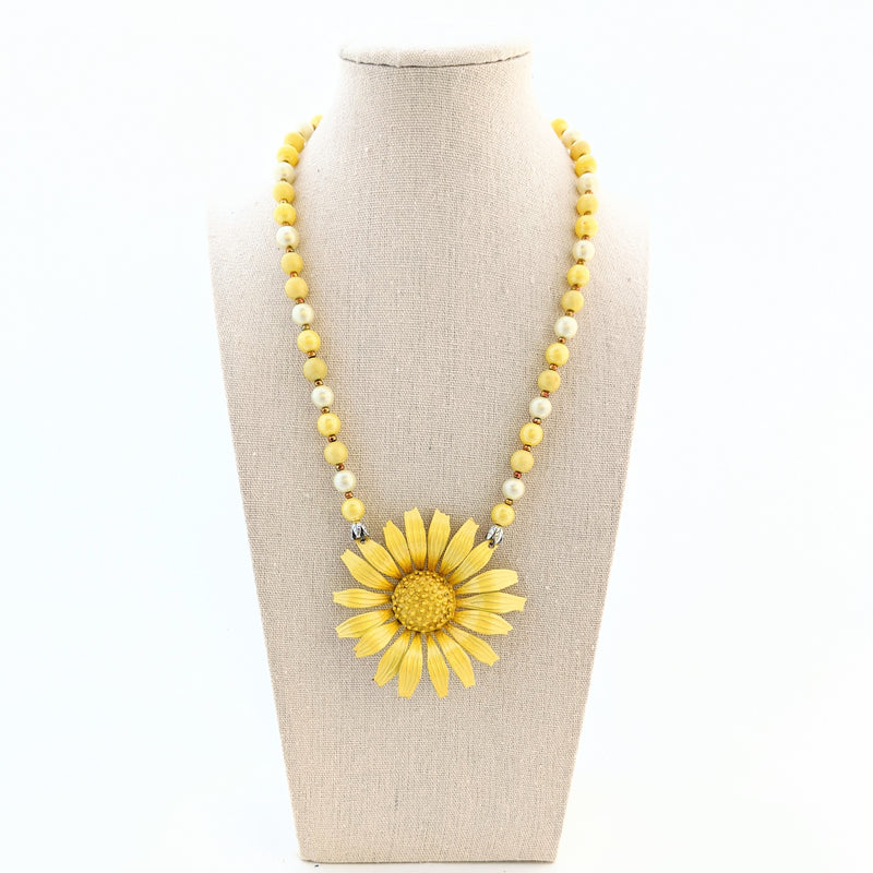 Yellow Sunflower Vintage Flower Necklace