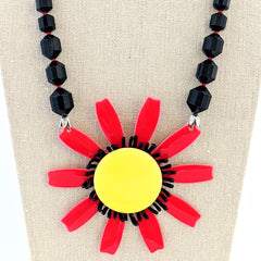 Bold Black & Red Vintage Flower Necklace