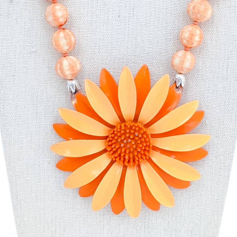 Orange Sherbet Vintage Flower Necklace