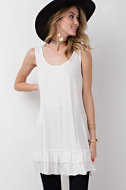 Off white ruffle tunic, white ruffle tank