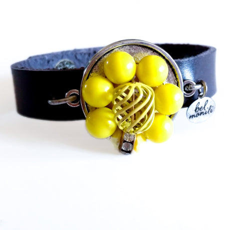 Yellow Vintage Bauble Leather Cuff Bracelet