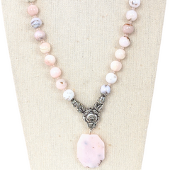 Pink Opal Rose Pendant Necklace