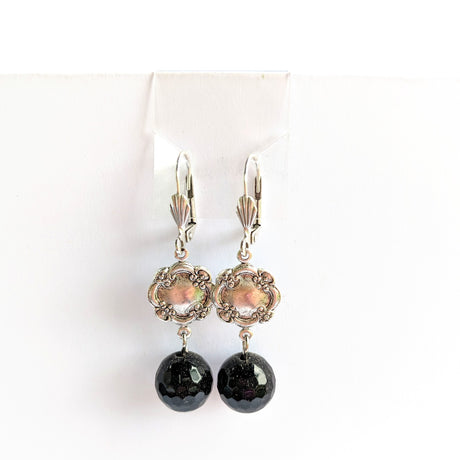 Black and silver deco style earrings