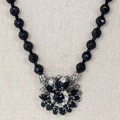 Black Glass & Vintage Rhinestone Pendant Necklace