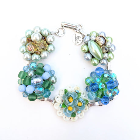 Blue and Green Vintage Flower Cluster Bracelet (Bracelet 237)