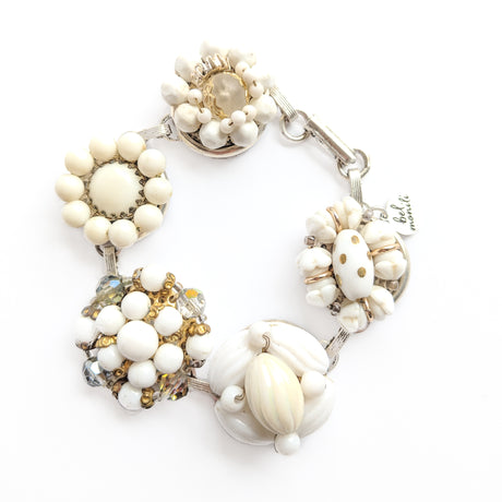 white and gold bracelet