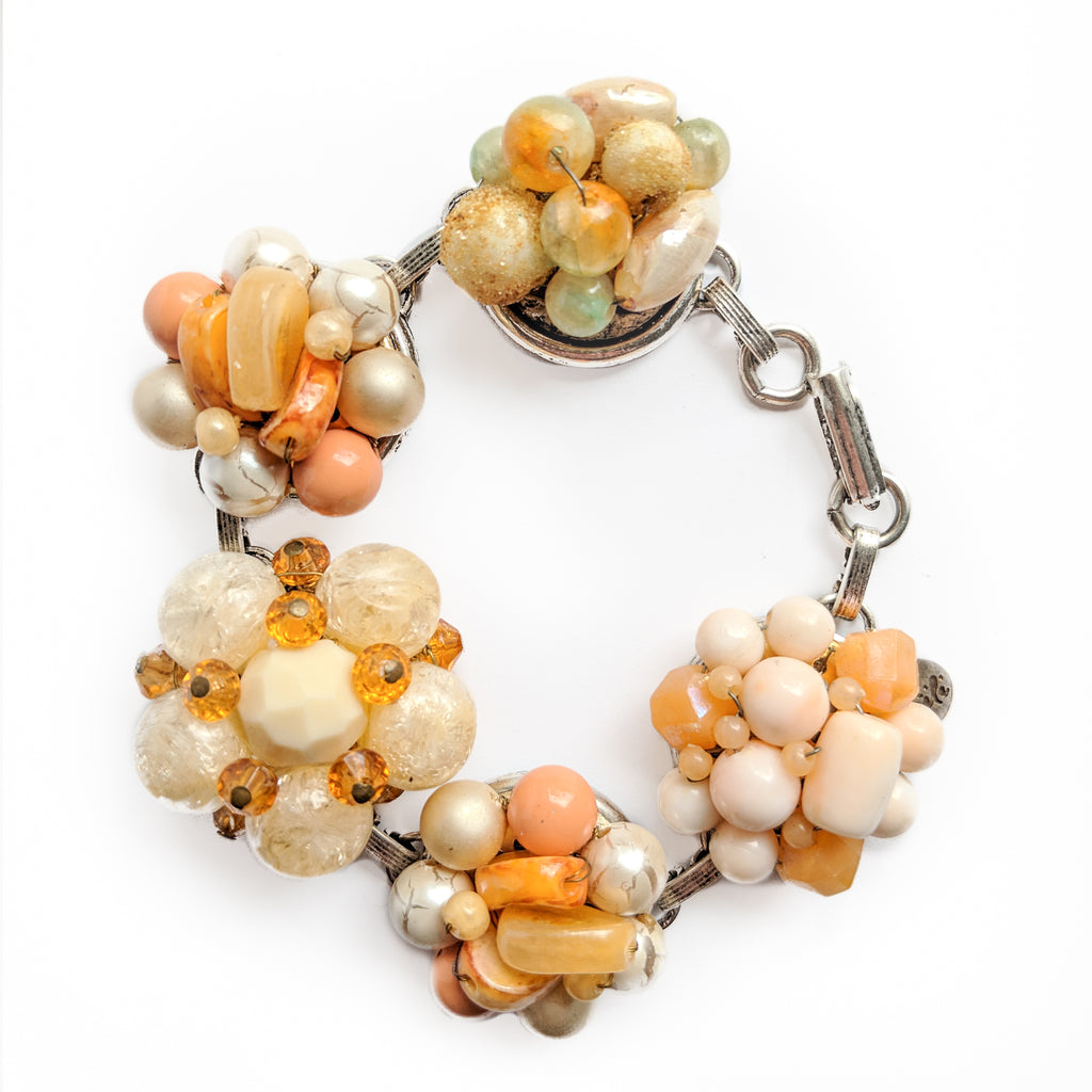 statement bracelet, peach bracelet