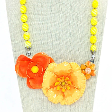 orange and yellow statement necklace