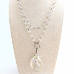 vintage crystal long layering necklace