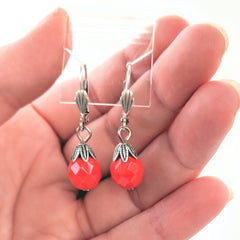 Red Czech Glass Drop Earrings