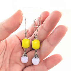 pink and yellow czech glass earrings