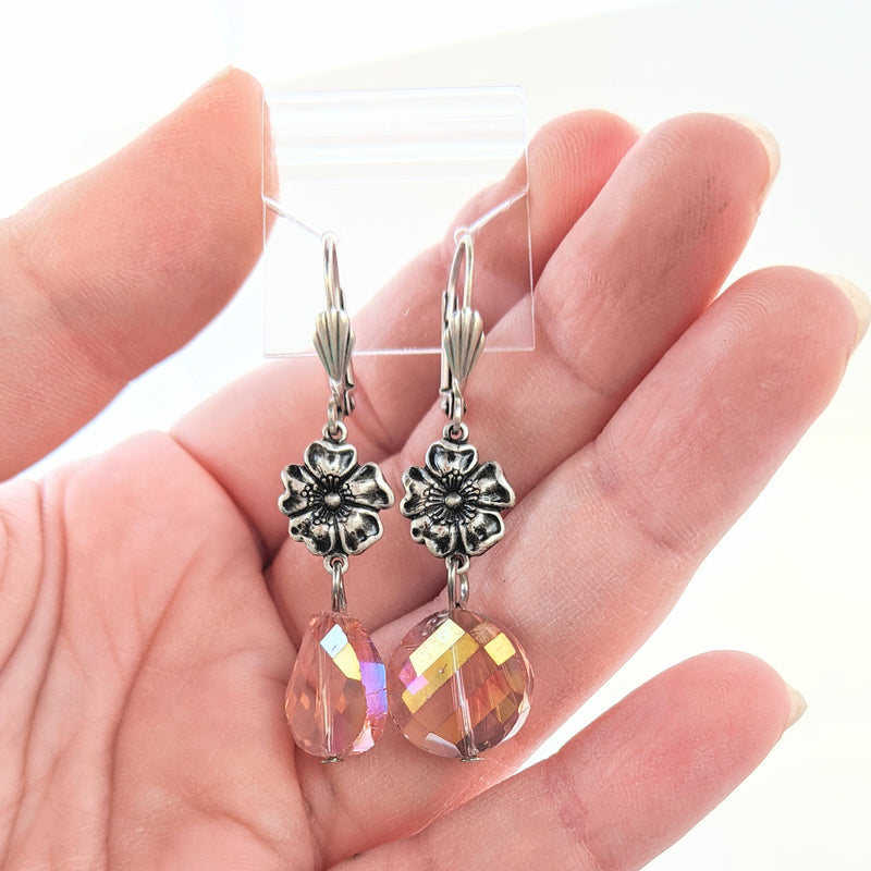 Colorful Bead Earrings with Silver Flower (multiple colors available)