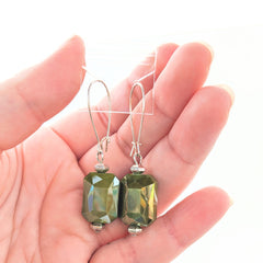 Oblong Crystal Earrings (multiple colors available)