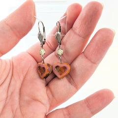 Czech Glass Heart Earrings