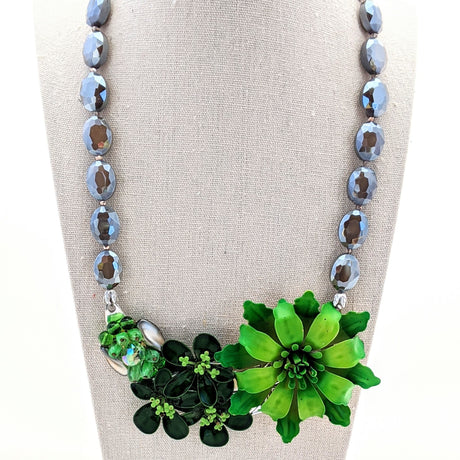 Spring Green Vintage Flower Collage Necklace