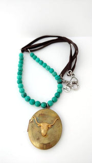 Vintage Brass Steerhead Locket Turquoise Leather Necklace - bel monili, Pittsburgh PA, country living fair, vintage market days