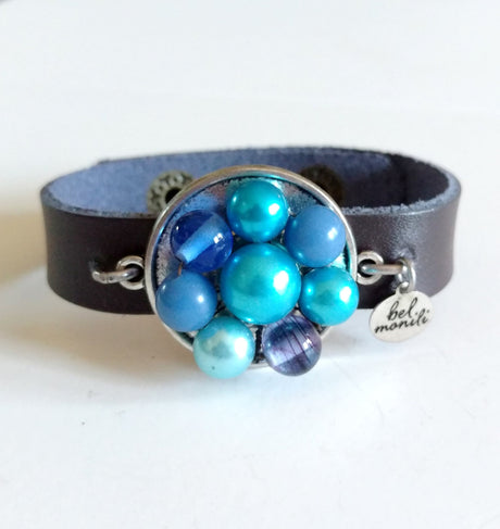 Blue Vintage Bauble Leather Cuff Bracelet - bel monili, Pittsburgh PA, country living fair, vintage market days