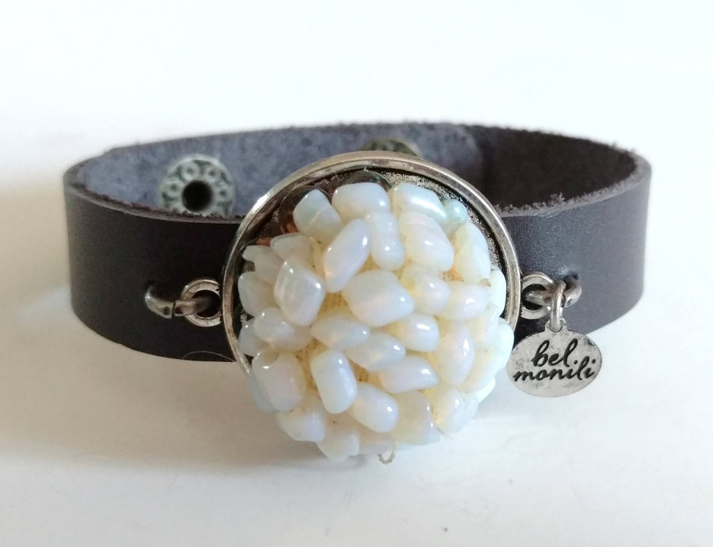 Vintage White Opal Bauble Leather Cuff Bracelet