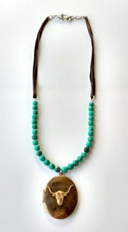 brass steerhead leather necklace
