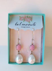 pink vintage glass earrings