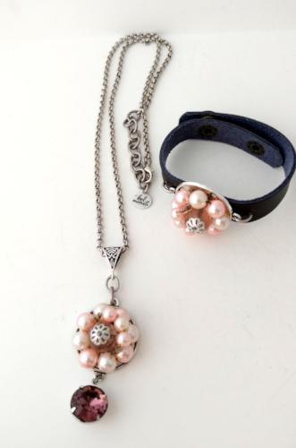 Pink Pearl Vintage Bauble Pendant and Cuff Bracelet Set
