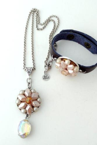Blush Pink Vintage Bauble Pendant and Cuff Bracelet Set