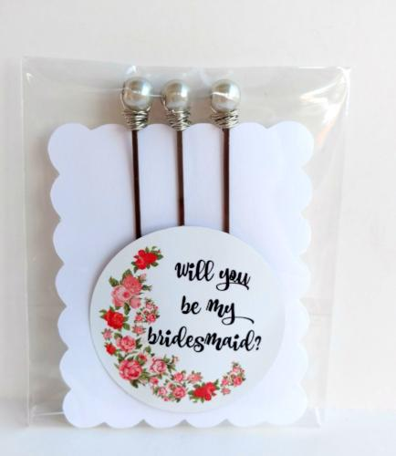 """Will You be my Bridesmaid"" Bobby Pin Set - bel monili, Pittsburgh PA, country living fair, vintage market days"