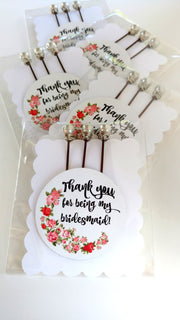 """Thank you for being my bridesmaid"" Bobby Pin Set - bel monili, Pittsburgh PA, country living fair, vintage market days"