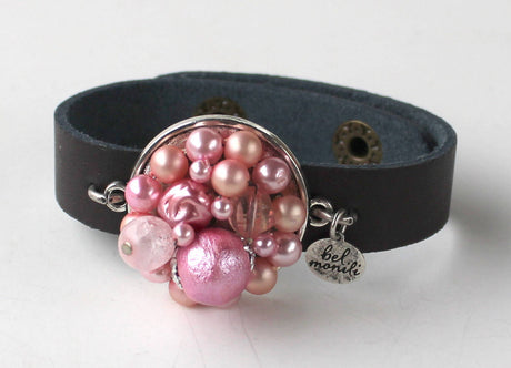 Pink Vintage Bauble Leather Cuff Bracelet - bel monili, Pittsburgh PA, country living fair, vintage market days
