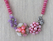 pink and purple upcycled necklace