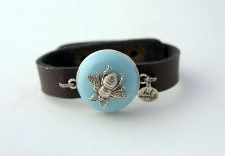 Sky Blue Bee Vintage Bauble Leather Cuff Bracelet - bel monili, Pittsburgh PA, country living fair, vintage market days