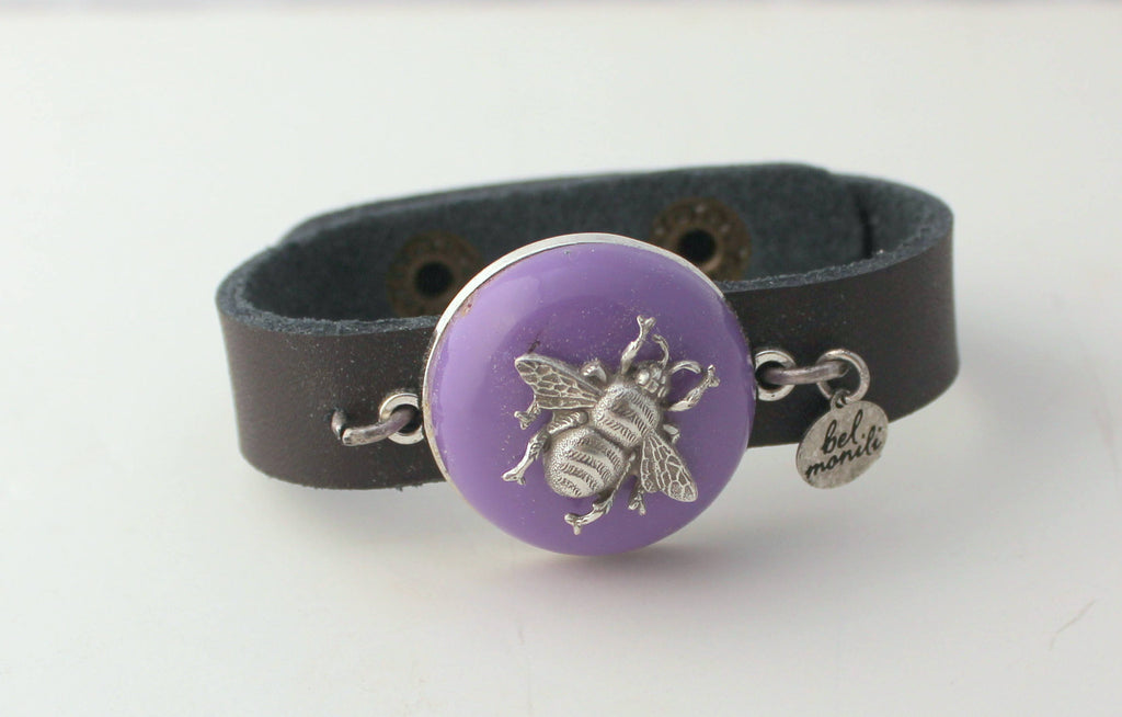 Purple Bee Cuff Bracelet - bel monili, Pittsburgh PA, country living fair, vintage market days
