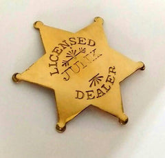 Licensed Junk Dealer badge - bel monili, Pittsburgh PA, country living fair, vintage market days