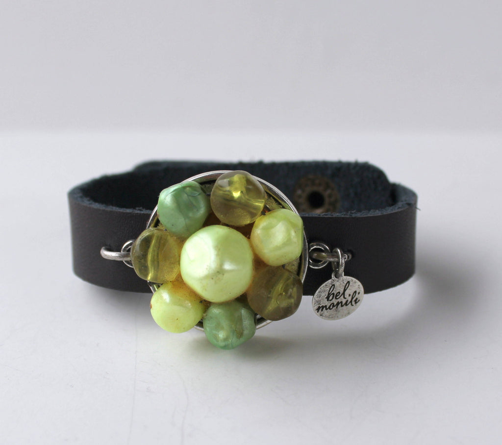 Lime Green Vintage Bauble Leather Cuff Bracelet - bel monili, Pittsburgh PA, country living fair, vintage market days