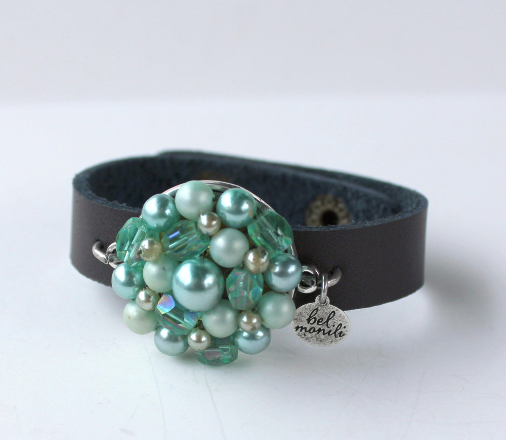 Vintage Green Bauble Leather Cuff