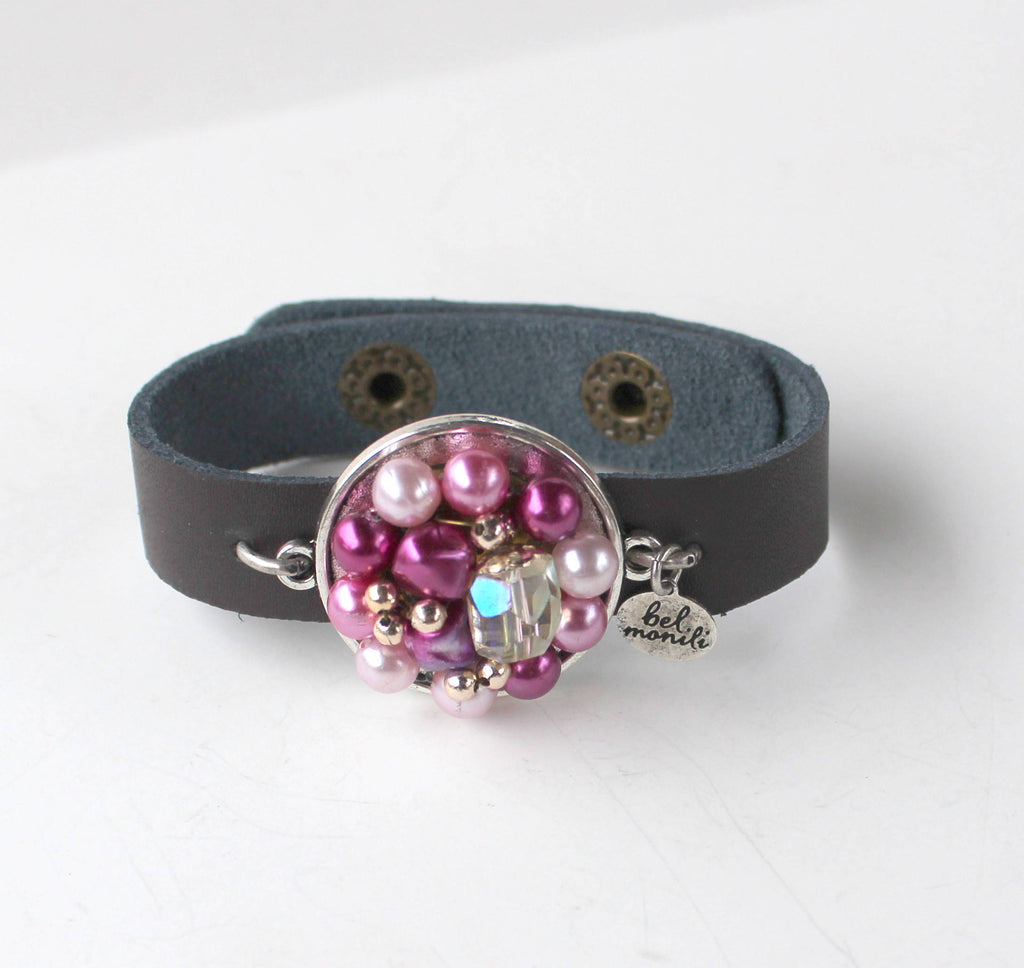 Vintage Purple Bauble Leather Cuff Bracelet