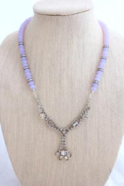 Lavender Upcycled Vintage Rhinestone Necklace