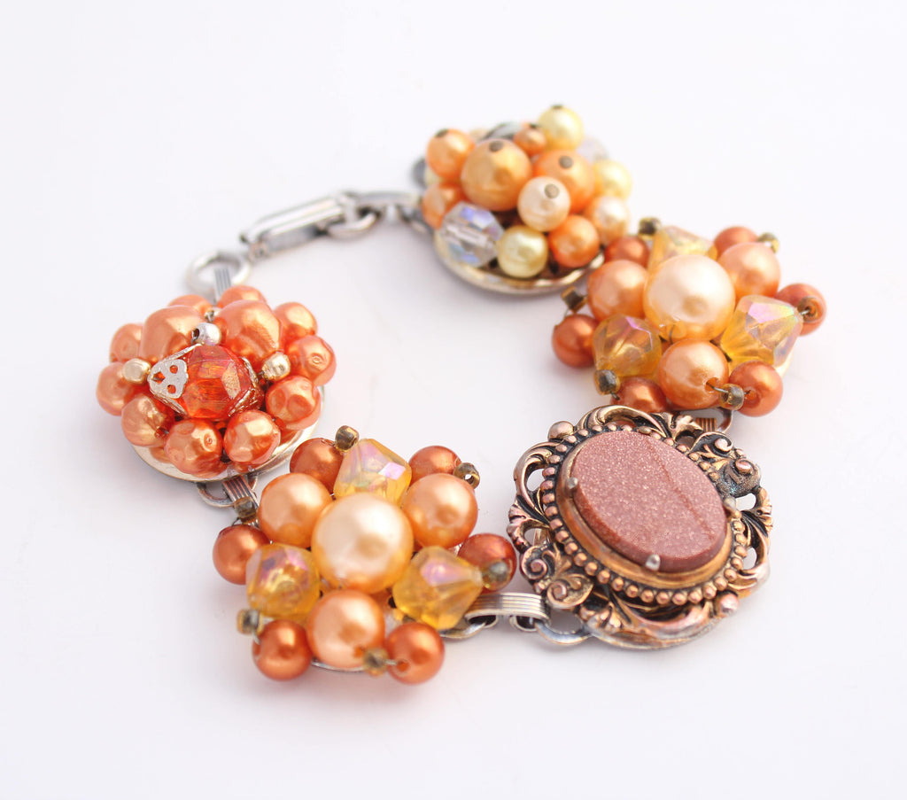 Orange Vintage Earring Bracelet
