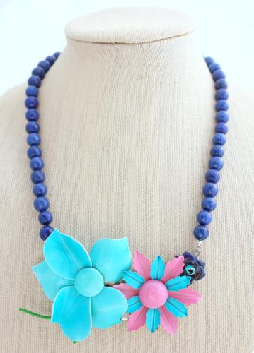 Orchid and Blue Flower Collage Necklace - bel monili, Pittsburgh PA, country living fair, vintage market days