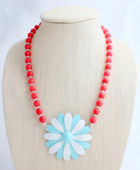 Red and Blue Enamel Daisy Necklace - bel monili, Pittsburgh PA, country living fair, vintage market days
