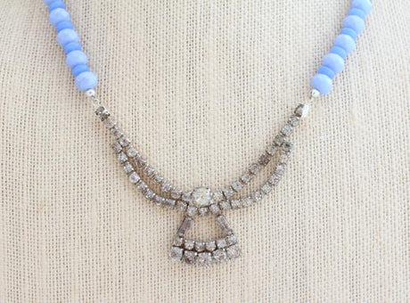 Periwinkle Blue Upcycled Rhinestone Necklace - bel monili, Pittsburgh PA, country living fair, vintage market days