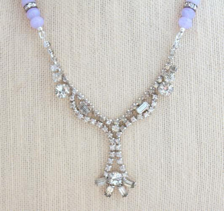 Lavender Upcycled Vintage Rhinestone Necklace - bel monili, Pittsburgh PA, country living fair, vintage market days