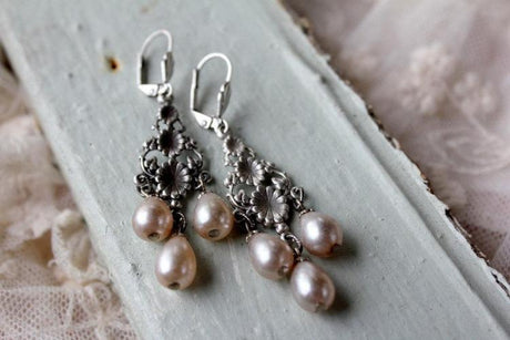 Silver Flower Filigree Pearl Chandelier Earrings