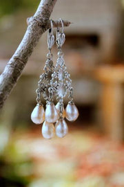 chandelier earrings with vintage miriam haskell pearls