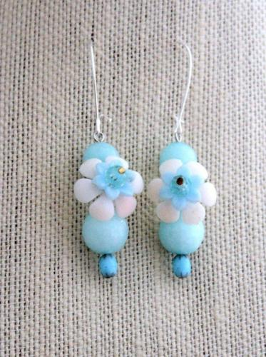 Upcycled Blue Flower Earrings - bel monili, Pittsburgh PA, country living fair, vintage market days