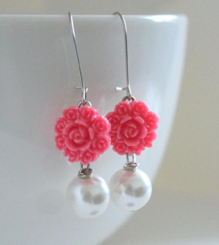 Bright Pink Flower Drop Earrings - bel monili, Pittsburgh PA, country living fair, vintage market days