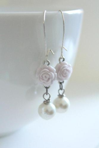 Lilac Rose Drop Earrings - bel monili, Pittsburgh PA, country living fair, vintage market days